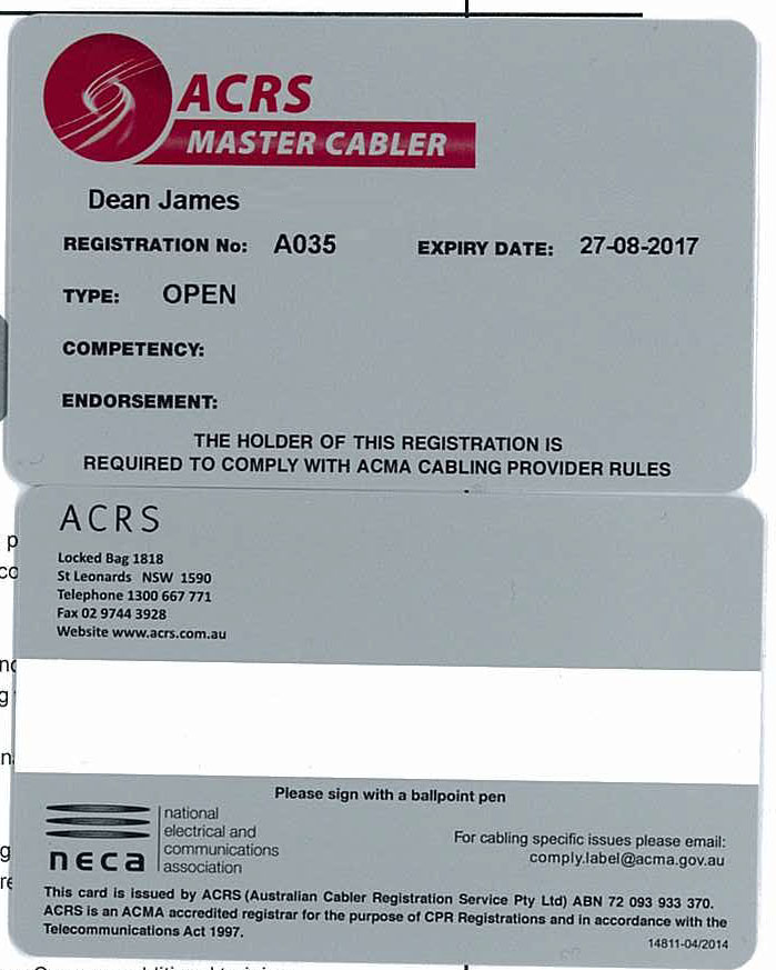 ACMA approved license from ACRS